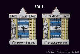 """Konv. 2 Rosenthal Porzellan Uhren, Künstleruhr """"Don Juan Ouverture"""", Entwurf Hunt/Yang, griechisches"""