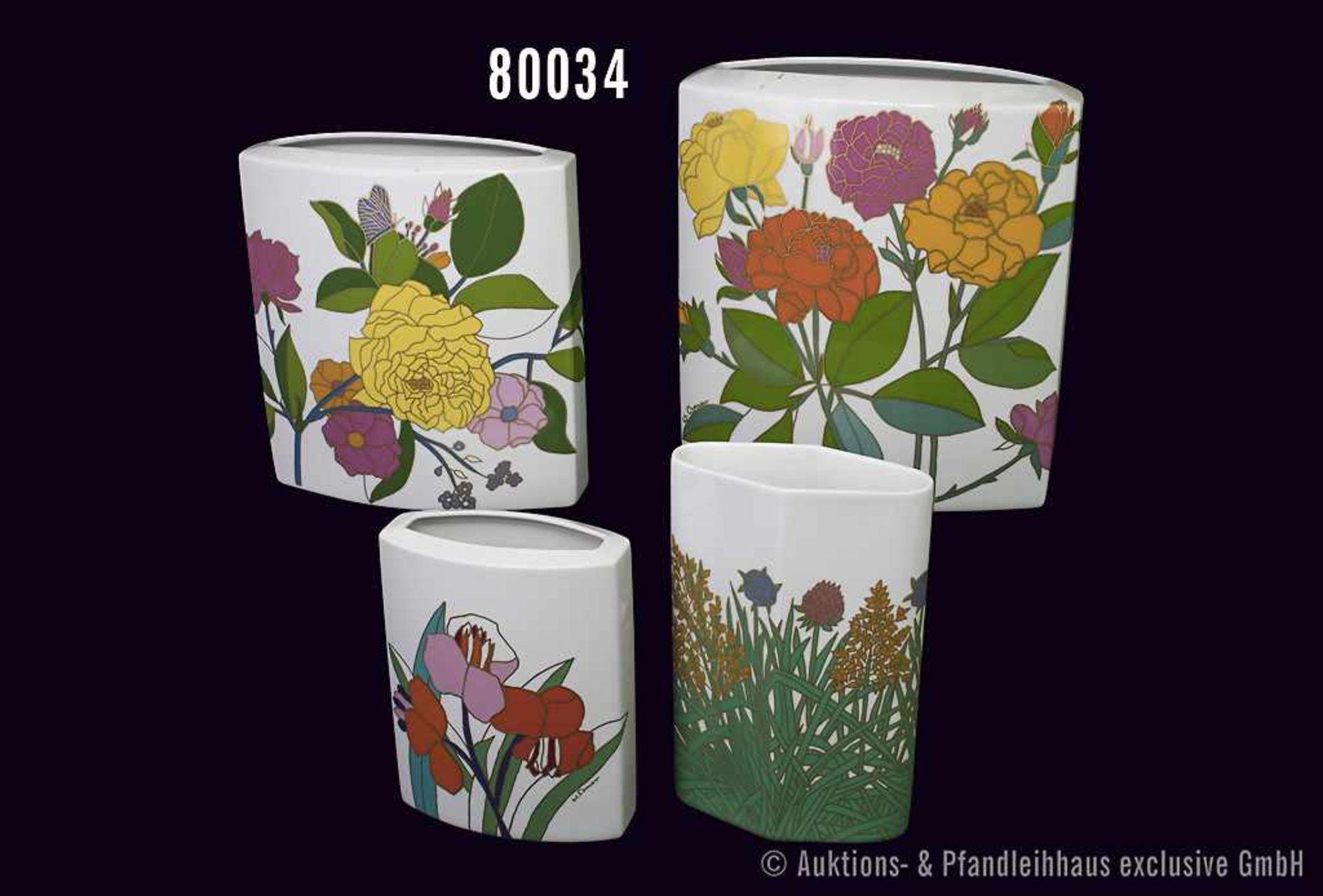 Konv. 4 Rosenthal Porzellan Vasen, studio-linie, versch. Blumendekore, Nummer 3512/20, 2786/20,