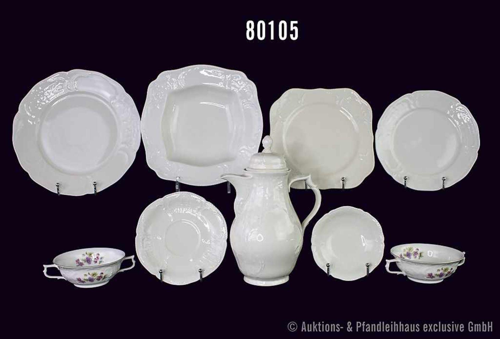 """Konv. 56 Teile Rosenthal Porzellan, Serie """"Sanssouci"""", elfenbein, dabei 2 ovale Platten L 40 cm,"""
