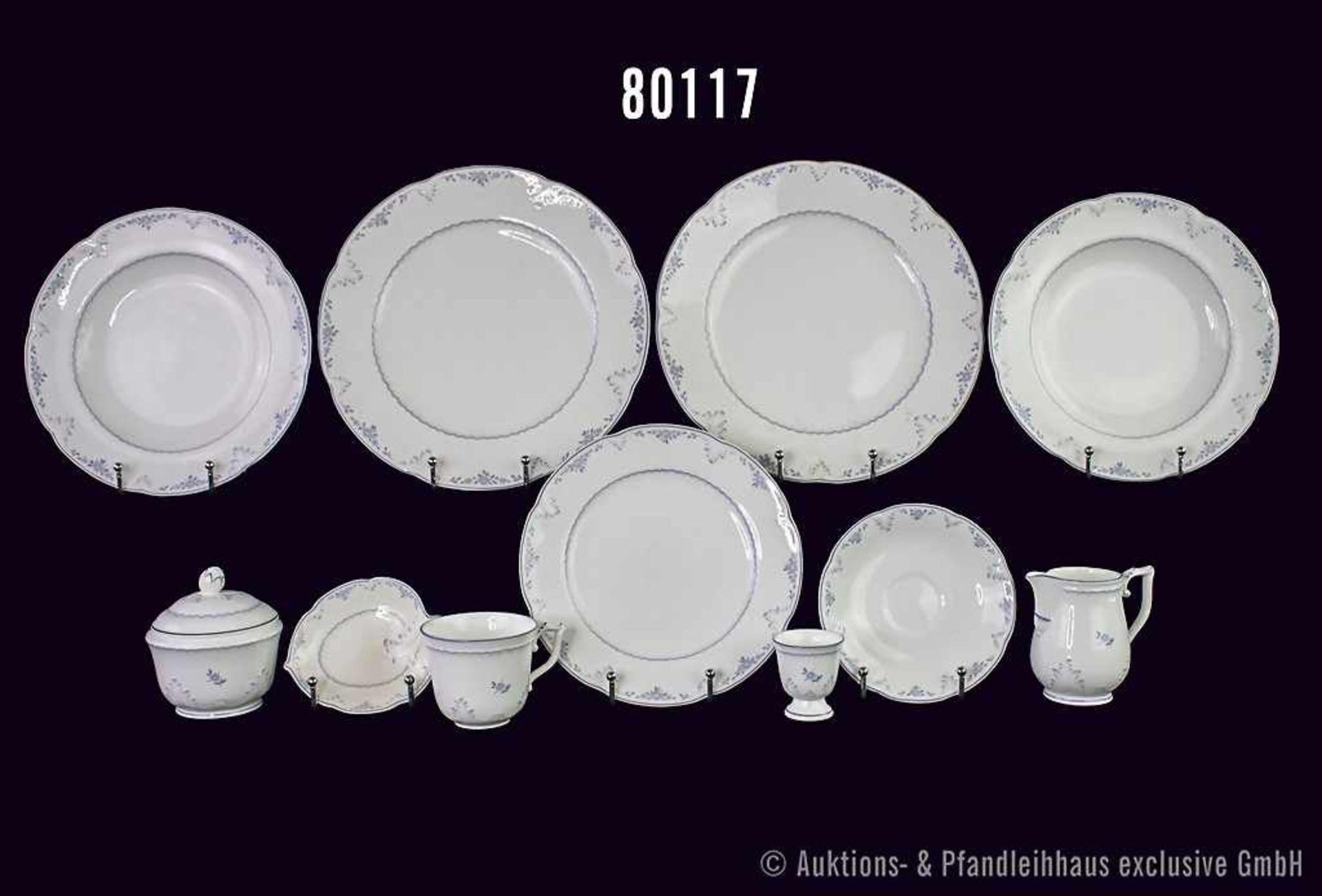 """Konv. 28 Teile Villeryo & Boch Bone China Porzellan, Dekor """"Vienna"""", dabei 7 Speiseteller D 25 cm, 4"""