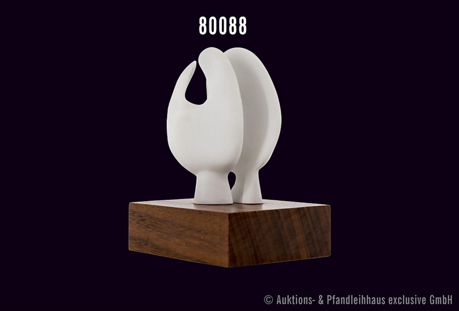 """Rosenthal Porzellan, Skulptur von Henry Moore, Titel """"Moonhead"""", weißes Porzellan auf Holzsockel, - Bild 2 aus 2"""