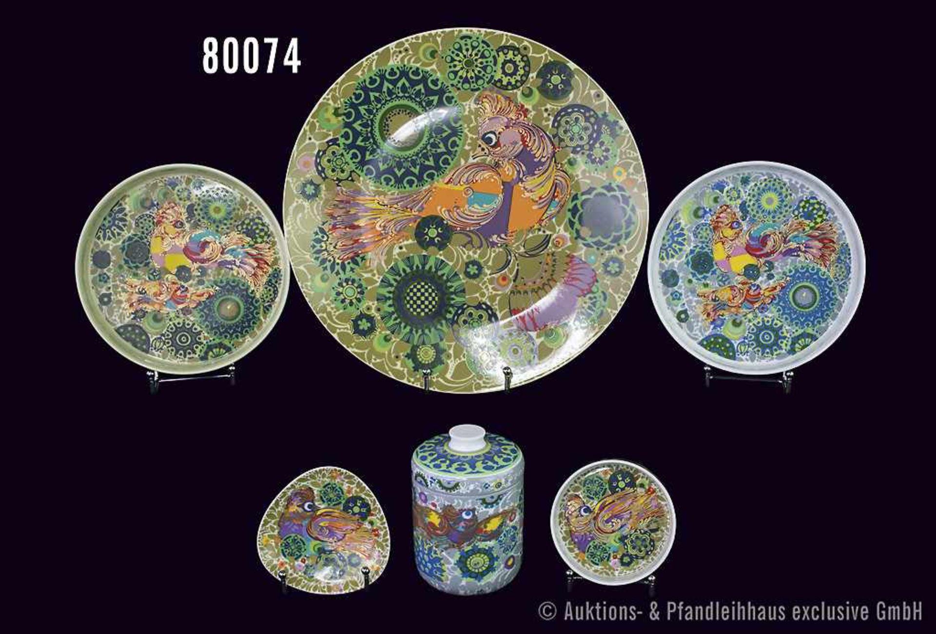 Konv. 6 Teile Rosenthal Porzellan, Dekor Feuervogel, grün und weiß, Künstler Björn Wiinblad, dabei