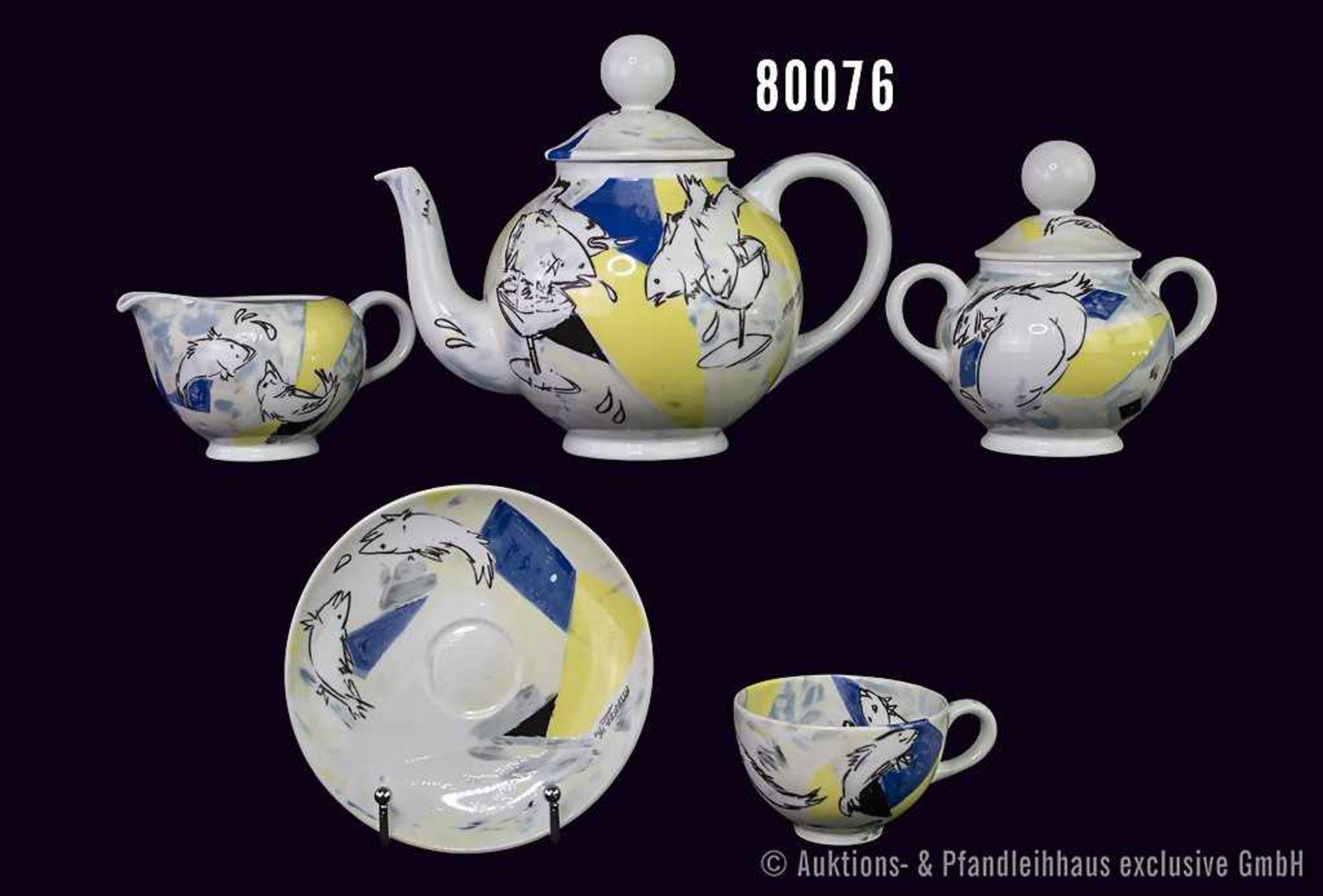 Konv. 7 Teile Rosenthal Porzellan, Dekor Teeforelle, Künstler Chr. Attersee, von 90/91, limitierte