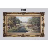 Ölgemälde, Motiv Wald mit Bach und einer Steinbrücke, Öl auf Leinwand, mit Rahmen, dieser im