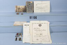 Teilnachlass eines Trägers der Bayerischen Tapferkeitsmedaille, u. a. Urkunde zum EK 2,