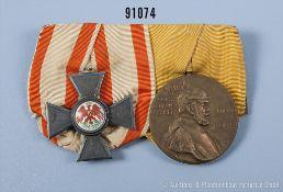 2er Ordensspange, Preußen Roter Adlerorden 4. Klasse und Centenarmedaille, guter Zustand
