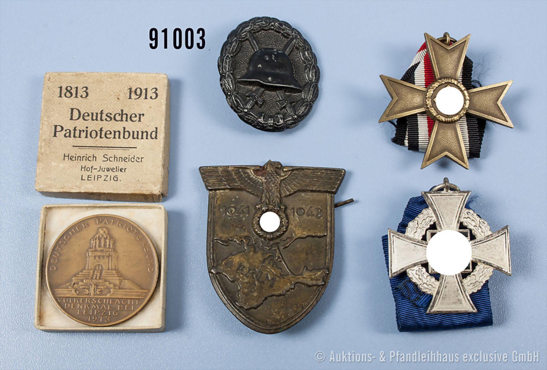 Konv. Krimschild, Eisenausf., rückseitig 4 Splinte, die Gegenplatte fehlt, KVK 2. Klasse ohne