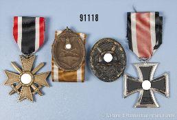 Konv. EK 2 1939, KVK 2. Klasse mit Schwertern, Schutzwall-Ehrenzeichen und VWA in Schwarz, guter