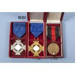 Konv. Treuedienst-Ehrenzeichen für 25 und 40 Jahre sowie Anschlußmedaille Sudetenland, jeweils im