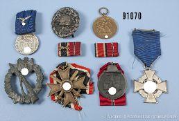 Konv. Ostmedaille, KVK 2. Klasse mit Schwertern, Sudetenlandmedaille, Treuedienst-Ehrenzeichen für