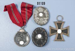 "Konv. EK 2 1939, Ostmedaille, VWA in Schwarz und VWA in Silber, Zinkausf., Herteller ""30"","