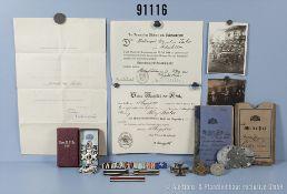 Nachlass eines bayerischen Vize-Wachtmeisters in der Fernsprechabteilung 10, u. a. EK 2 1914, mit