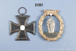 Konv. Minensuchabzeichen, Zinkausf. und EK 2 1939, guter Zustand