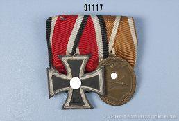 2er Ordensspange, EK 2 1939 und Schutzwall-Ehrenzeichen, guter Zustand, teilweise mit Altersspuren