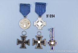 Konv. 2 EK 2 1914 und 1939, Treuedienst-Ehrenzeichen für 25 Jahre, Polizei-Dienstauszeichnung für