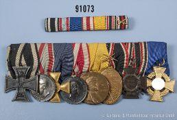 """8er Ordensspange, EK 2 1914, Hessen-Darmstadt Allgemeines Ehrenzeichen """"Für Kriegsverdienste"""","""