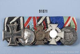 """5er Ordensspange, EK 2 1914, Hessen-Darmstadt Allgemeines Ehrenzeichen """"Für Kriegsverdienste"""","""