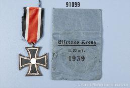 """EK 2 1939 mit kleiner beschädigter Verleihungstüte von """"Wächtler & Lange"""", guter Zustand mit"""