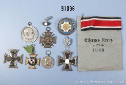 Konv. EK 2 1914 mit fehlender Bandringöse, EKF, Württemberg Tapferkeitsmedaille, Abzeichen vom