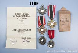 Konv. Ostmedaille, VWA in Schwarz, 3 KVK 2. Klasse mit Schwertern, 1 x mit beschädigter