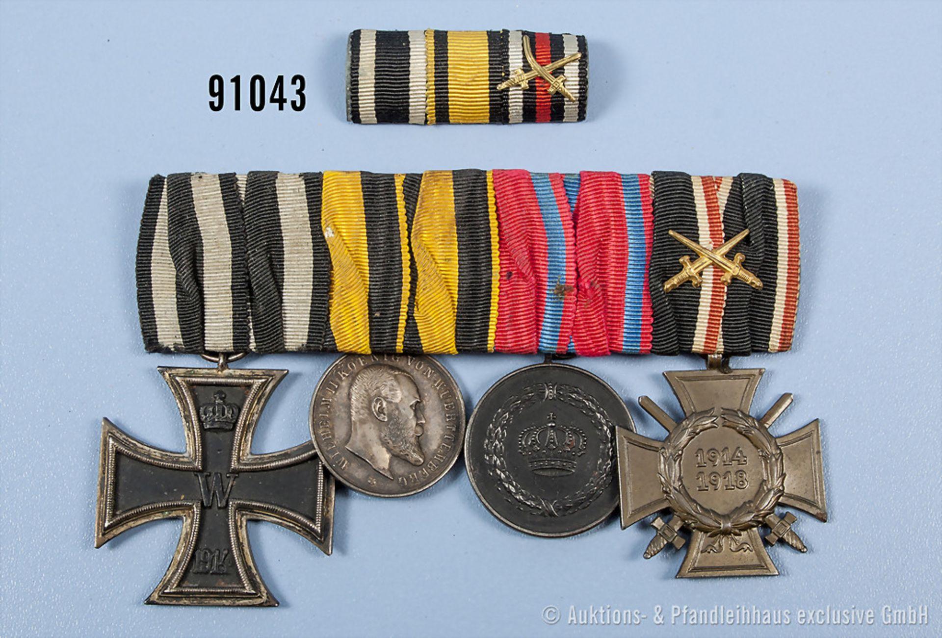4er Ordensspange, EK 2 1914, Württemberg Tapferkeitsmedaille, Bandring ersetzt, Dienstauszeichnung