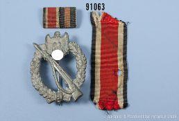 """Konv. Infanterie-Sturmabzeichen in Silber, Zinkausf., Hersteller """"f.o."""", 2er Feldspange und EK 2"""