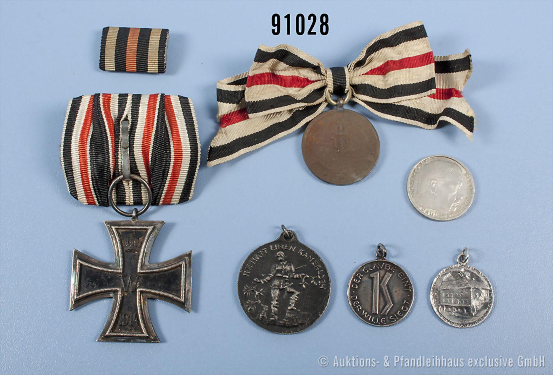 """Konv. KDM 1870/71 aus Stahl an der Damenschleife, EK 2 1914, patriotische Medaille 1. WK """"Ich hatt"""
