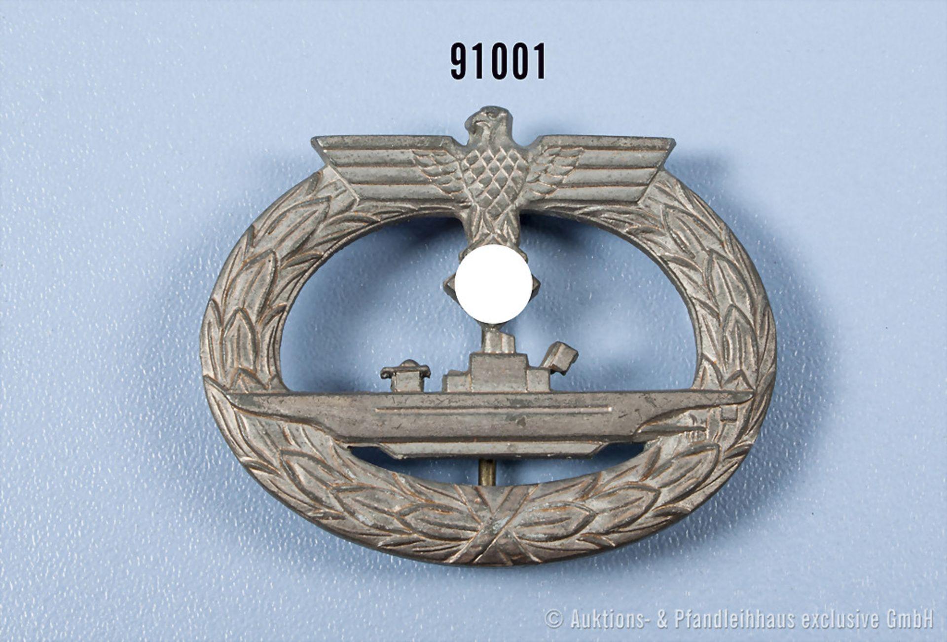 """U-Boots-Kriegsabzeichen, Zinkausf., Hersteller """"f.o."""", vermutl. späte Kriegsfertigung, guter Zustand"""