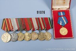Konv. UdSSR 7er Ordensspange mit Erinnerungsmedaillen an den Sieg im Vaterländischen Sieg 1941-