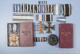 Konv. 2er Ordensspange, EK 2 1914 und bayerisches MVK 3. Klasse mit Schwertern, VWA in Schwarz,