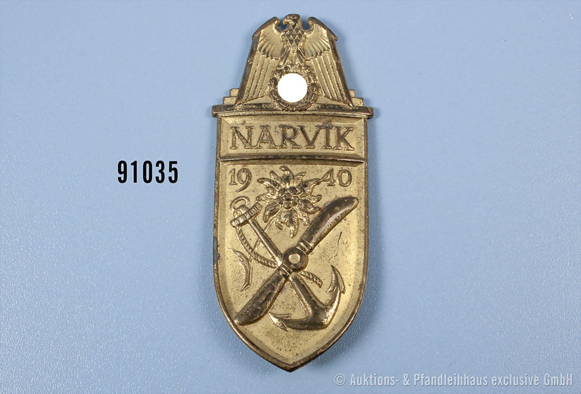 Narvikschild der Kriegsmarine, Buntmetallausf., rückseitig 4 Splinte, Gegenplatte und Stoff