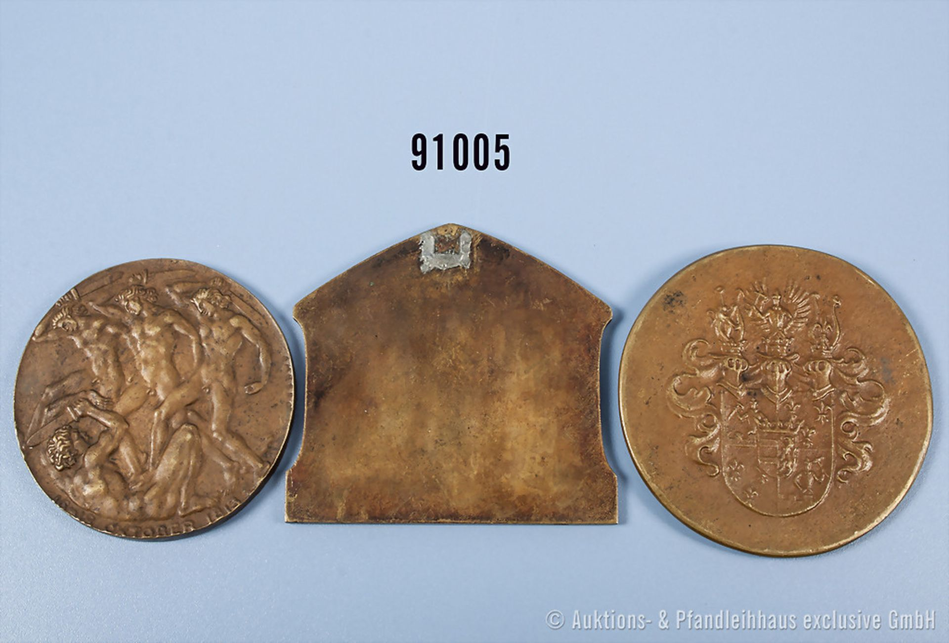Konv. 2 Bronze-Medaillen, Deutscher Patriotenbund, Medaille zur Errichtung des Völkerschlacht- - Bild 2 aus 2