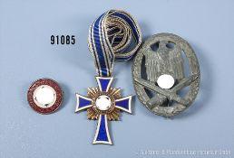 Konv. Allgemeines Sturmabzeichen, Zinkausf., Mutterkreuz in Bronze sowie NSDAP-Parteiabzeichen,