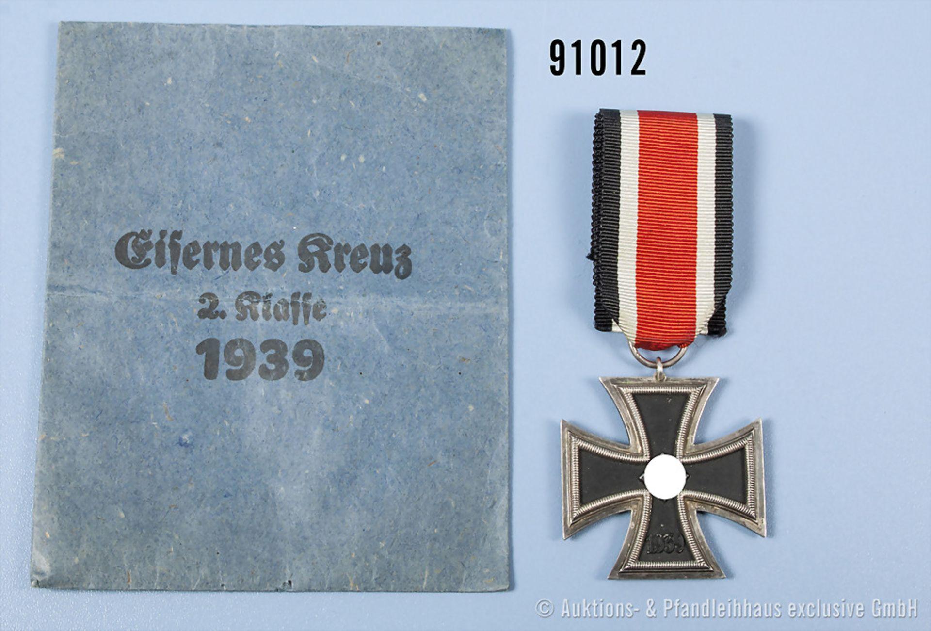 """EK 2 1939, Hersteller """"1"""" im Bandring, mit dazugehöriger Verleihungstüte, guter Zustand, teilweise"""