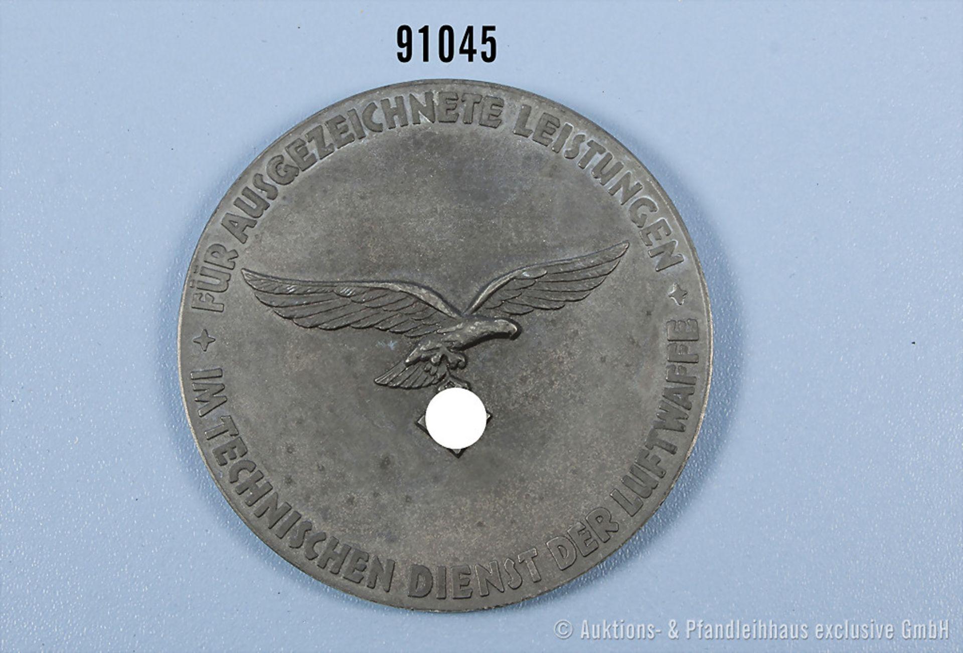 Medaille für ausgezeichnete Technische Leistungen, Luftwaffe 2. WK, Zinkausf., D ca. 7,5 cm, guter - Bild 2 aus 2