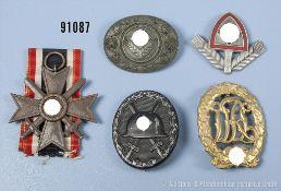 Konv. KVK 2. Klasse mit Schwertern, VWA in Schwarz, Sportabzeichen sowie RAD Mützenabzeichen und