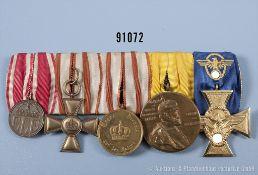 5er Ordensspange, Hessen-Darmstadt Kriegsehrenzeichen, Dienstauszeichnung für 15 und 12 Jahre,