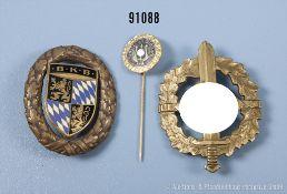"""Konv. Bayerischer Kriegerbund Sportabzeichen in Bronze, Mitgliedsabzeichen 3. Reich """"Sängerbund"""