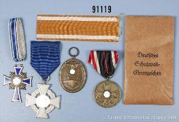 Konv. Schutzwall-Ehrenzeichen mit Verleihungstüte, Mutterkreuz in Silber, Treuedienst-Ehrenzeichen