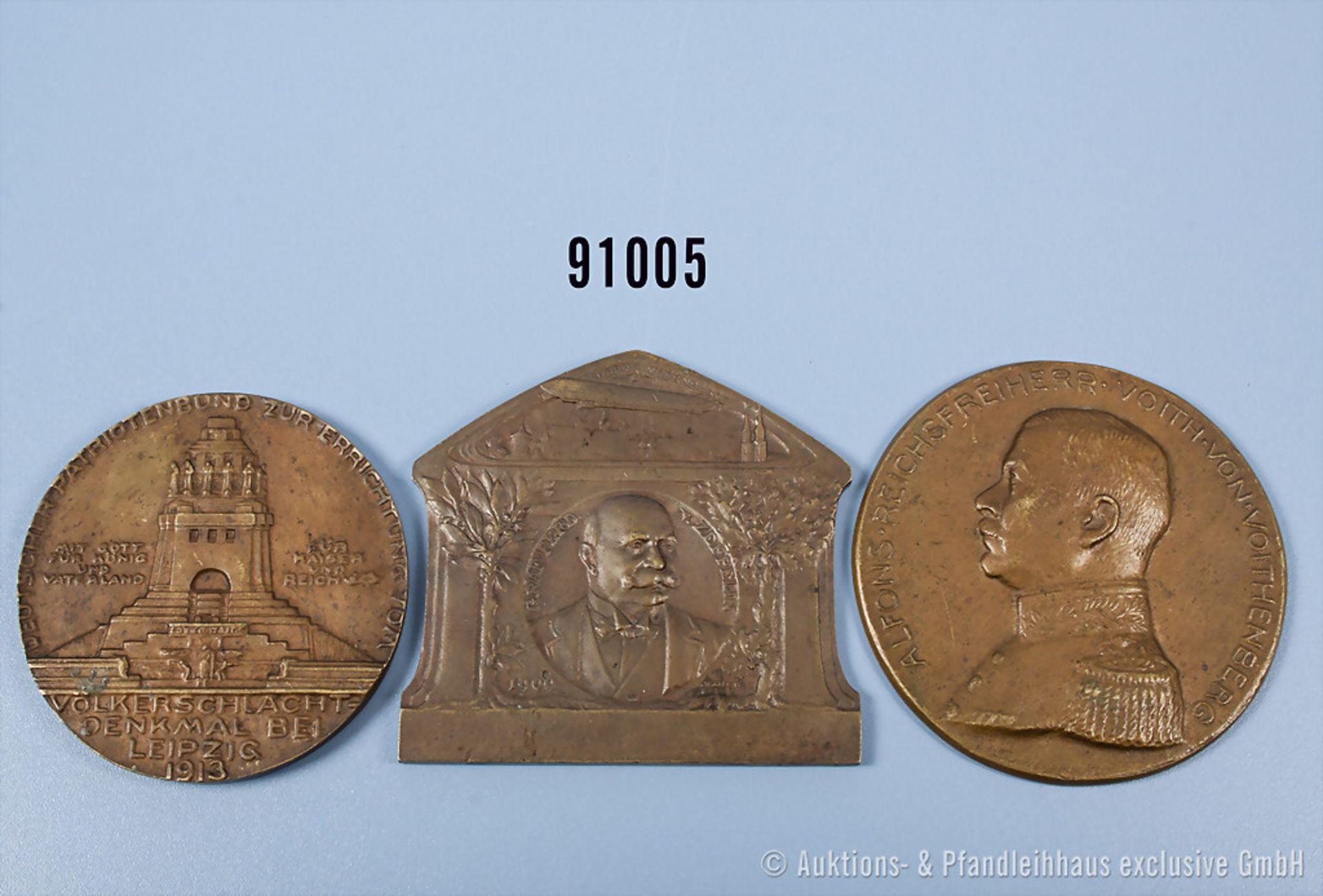 Konv. 2 Bronze-Medaillen, Deutscher Patriotenbund, Medaille zur Errichtung des Völkerschlacht-