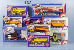 Konv. 9 Siku Modellfahrzeuge, 2520, 2610, 2852, 2923, 2 x 2934, 3119, 3125 und 4015, Metallausf.,