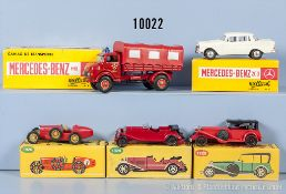 Konv. 5 Modellfahrzeuge, dabei Metosul MB 1113 Feuerwehr, MB 200 Pkw, Metallausf., M 1:43 sowie 3