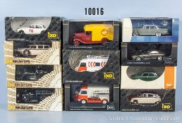 Konv. 12 Ixo Modellfahrzeuge, dabei Oldtimer, Lieferwagen, Sportwagen usw., Metallausf., M 1:43,