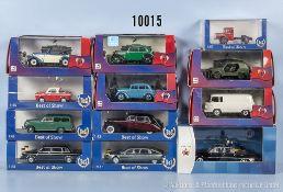 Konv. 12 Modellfahrzeuge, dabei Oldtimer, Lieferwagen usw., Metallausf., M 1:43, versch. Hersteller,