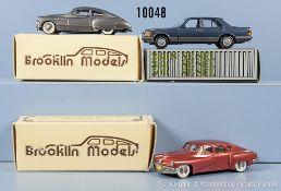 Konv. 3 Modellfahrzeuge, dabei NZG Mercedes Benz Limousine sowie 2 Brooklin Models, 1948 Tucker
