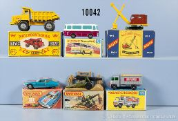 Konv. 6 Matchbox Fahrzeuge, dabei Kingsize K-5, Serie 1-75, Nr. 11 D, Major Pack Nr. 4, Field Gun