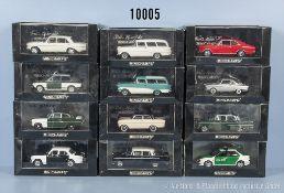 Konv. 12 Minichamp Modellfahrzeuge Oldtimer, Sportwagen und Einsatzfahrzeuge, Metallausf., M 1:43,