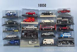 Konv. 20 Modellfahrzeuge, dabei Oldtimer, Pkw usw., lack. Metallausf., M 1:43, versch. Hersteller,