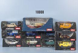 Konv. 11 Schuco Modellfahrzeuge, dabei Pkw, Transporter, Oldtimer, Einsatzfahrzeuge usw.,