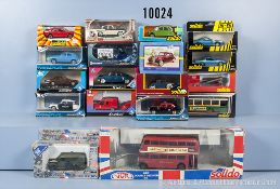 Konv. 18 Solido Modellfahrzeuge, dabei Oldtimer, Pkw, Sportwagen, Omnibusse, Einsatzfahrzeuge